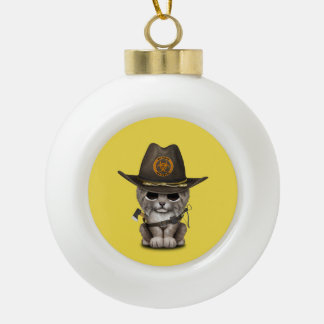 Baby Lynx Zombie Hunter Ceramic Ball Christmas Ornament