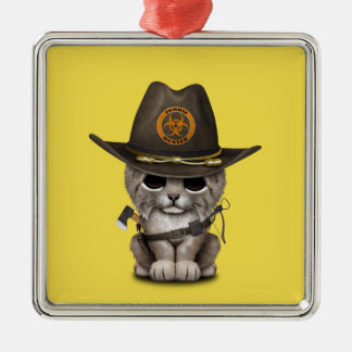 Baby Lynx Zombie Hunter Metal Ornament