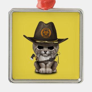 Baby Lynx Zombie Hunter Metal Ornament
