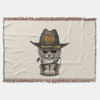 Baby Lynx Zombie Hunter Throw Blanket