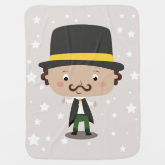 Baby magician with a hat mustache stars and cape baby blanket