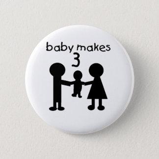 Baby Makes Three 2 Inch Round Button