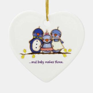 Baby Makes Three - Customizable Ornament