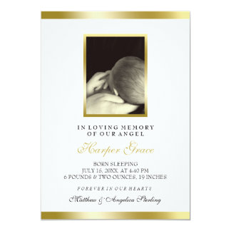 Baby Memorial | Faux Gold & White | Custom Photo Card