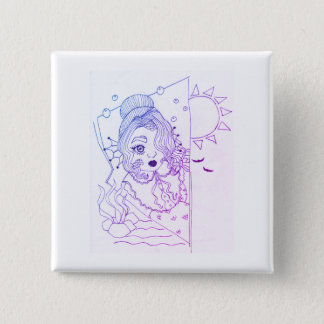 Baby Mermaid 2 Inch Square Button
