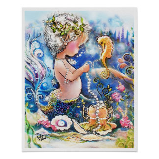 Baby Mermaid and a string of pearls Poster