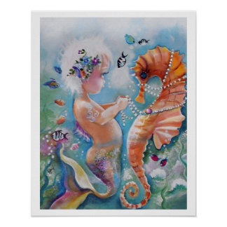 Baby Mermaid and Sea Horse Poster