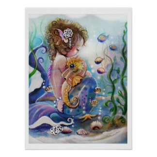 Baby Mermaid and Seahorse POSTER