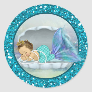 Baby Mermaid Envelope Seals Sm Round Stickers 130