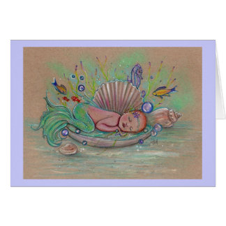 Baby mermaid greeting card By Renee Lavoie