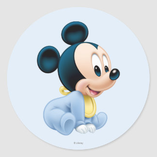 Baby Mickey | Blue Pajamas Classic Round Sticker