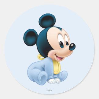 Baby Mickey | Blue Pajamas Round Sticker