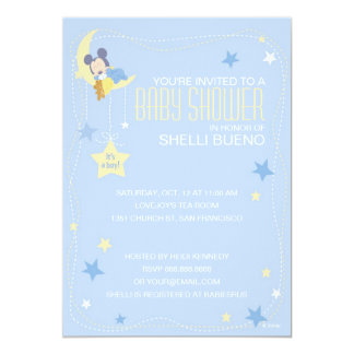 """Baby Mickey Mouse Baby Shower 5"""" X 7"""" Invitation Card"""