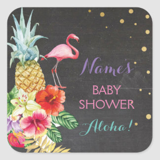 Baby Mom Shower Aloha Flamingo Tiki Stickers Label