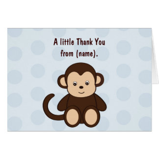 Baby Monkey Personalized Thank You Note Cards