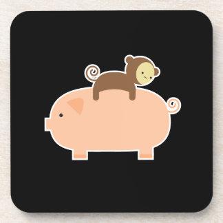 Baby Monkey Riding Backwards on a Pig Coasters