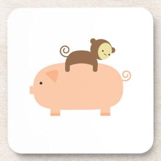 Baby Monkey Riding Backwards on a Pig Drink Coaster