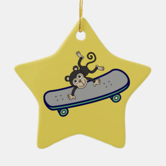 baby Monkey riding skateboards Ceramic Ornament
