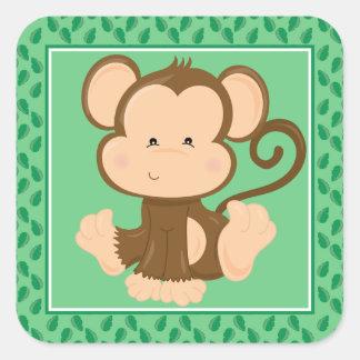 Baby Monkey | Safari Animals Party Square Sticker