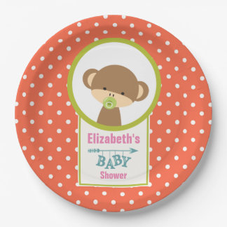 Baby Monkey with a Pacifier Baby Shower 9 Inch Paper Plate