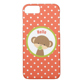 Baby Monkey with a Pacifier on Polka Dots Hello iPhone 8/7 Case