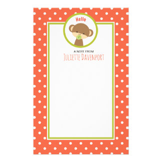 Baby Monkey with a Pacifier on Polka Dots Hello Stationery Paper