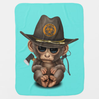 Baby Monkey Zombie Hunter Baby Blanket