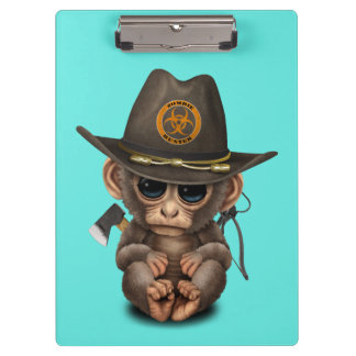 Baby Monkey Zombie Hunter Clipboard