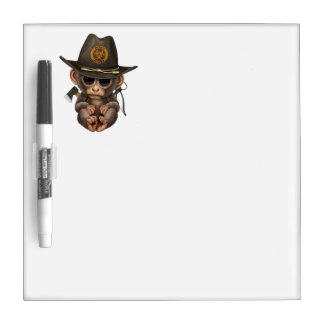 Baby Monkey Zombie Hunter Dry Erase Board