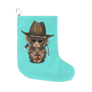 Baby Monkey Zombie Hunter Large Christmas Stocking