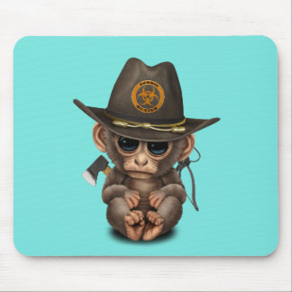 Baby Monkey Zombie Hunter Mouse Pad