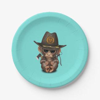 Baby Monkey Zombie Hunter Paper Plate
