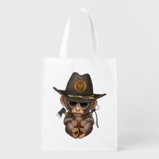 Baby Monkey Zombie Hunter Reusable Grocery Bag