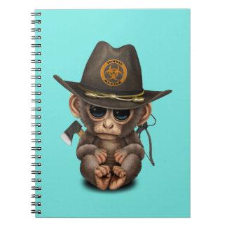 Baby Monkey Zombie Hunter Spiral Notebook