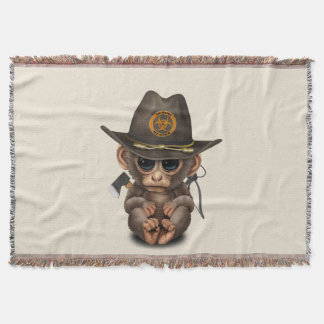 Baby Monkey Zombie Hunter Throw Blanket