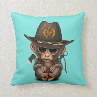 Baby Monkey Zombie Hunter Throw Pillow