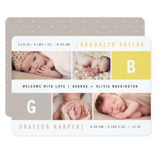 Baby Monograms Boy Girl Twins Birth Announcement