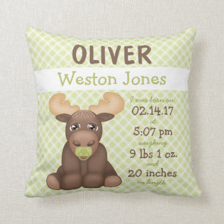 Baby Moose Nursery Keepsake Throw Pillow