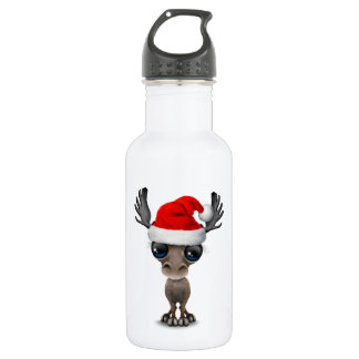 Baby Moose Wearing a Santa Hat 532 Ml Water Bottle