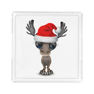 Baby Moose Wearing a Santa Hat Acrylic Tray