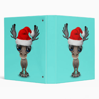 Baby Moose Wearing a Santa Hat Binder
