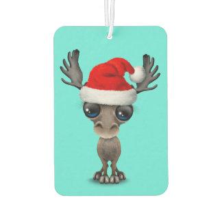 Baby Moose Wearing a Santa Hat Car Air Freshener
