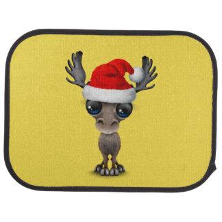 Baby Moose Wearing a Santa Hat Car Mat