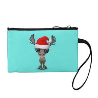 Baby Moose Wearing a Santa Hat Coin Purse