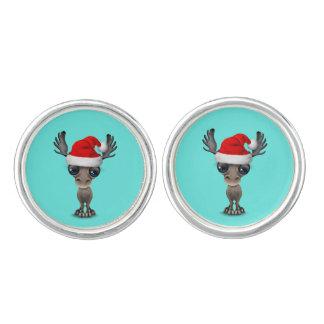 Baby Moose Wearing a Santa Hat Cufflinks