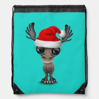 Baby Moose Wearing a Santa Hat Drawstring Bag