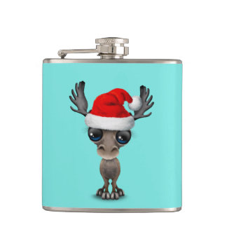Baby Moose Wearing a Santa Hat Hip Flask