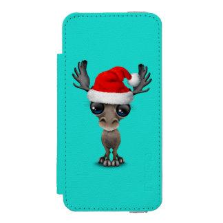 Baby Moose Wearing a Santa Hat Incipio Watson™ iPhone 5 Wallet Case