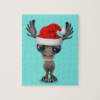 Baby Moose Wearing a Santa Hat Jigsaw Puzzle