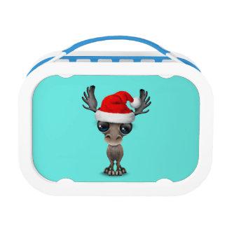 Baby Moose Wearing a Santa Hat Lunch Box